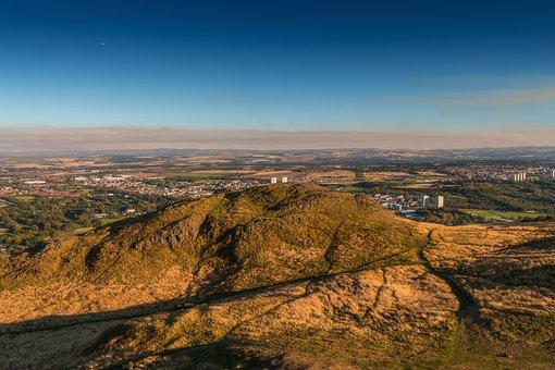 Edinburgh, Scotland, Nature, Sun, Blue Sky, Aircraft