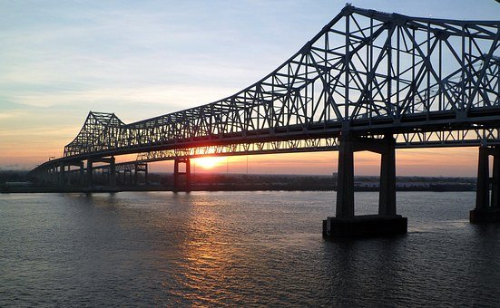 Mississippi, Bridge, Sunrise, New Orleans, River