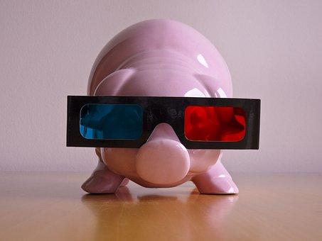 Piglet, 3 Dimensional, Glasses, Rosa, Pig, Cinema, 3d