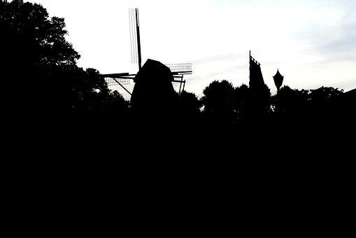 Windmill, Zons, Niederrhein, Silhouette, City