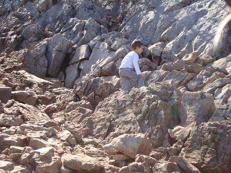 Cliff, Stone, Child, Mountain, Kid