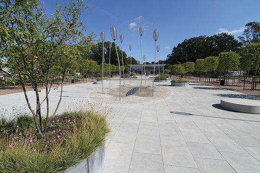 City Park Grove, Concrete Slabs, Summer
