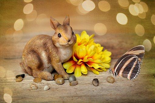 Hare, Easter Bunny, Dekohase, Flower, Blossom, Bloom
