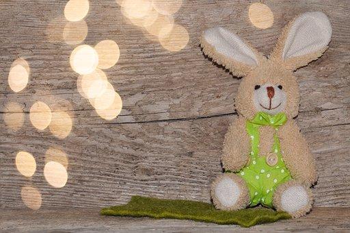 Wood, Fabric Bunny, Easter Bunny, Bokeh