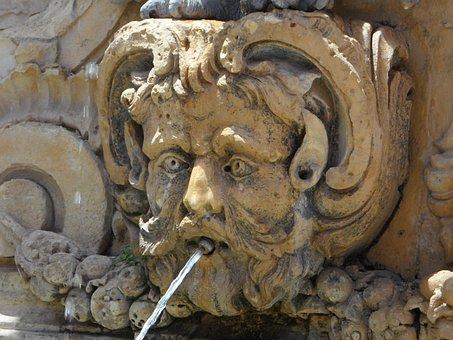 Fountain, Water Jet, Head, Figure, Sculpture, Stone