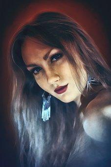 Girl, Woman, Portrait, Eyes, Earrings, Beautiful