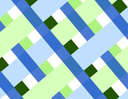 Plaid, Diagonal, Geometric, Shapes, Blue, Green, White