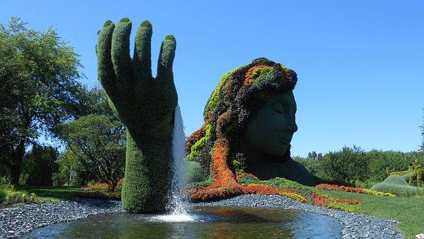 Jardin, Botanique, Montreal, Statue, Fountain
