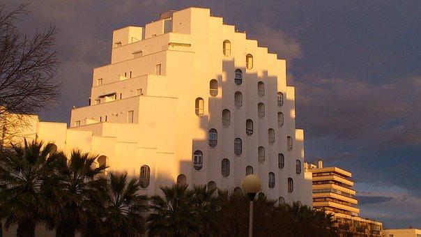 Architecture, City, Sunset, La Grande Motte, Landmark