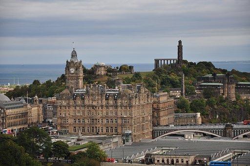 Edinburgh, Scotland, City, Panorama, National Monument