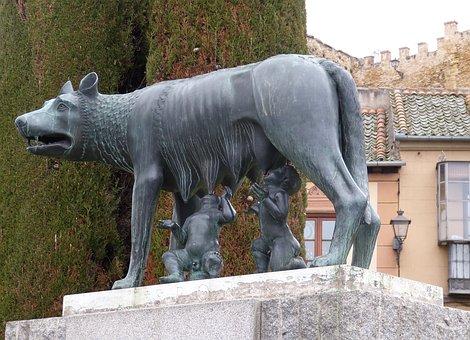 Romulus, Remus, Segovia, Spain, Old Town, Castile