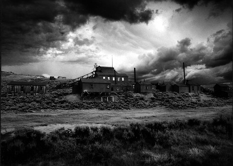 California, Sky, Clouds, Black And White, Mining
