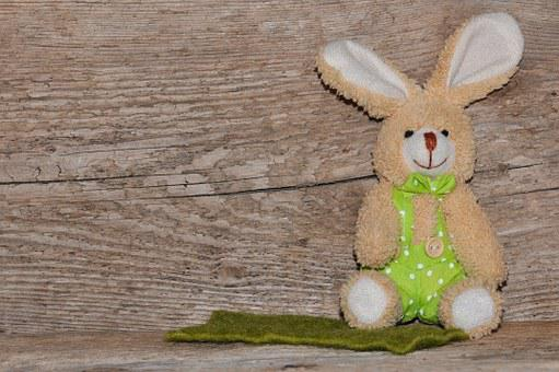 Fabric Bunny, Hare, Wood, Background, Text Freedom
