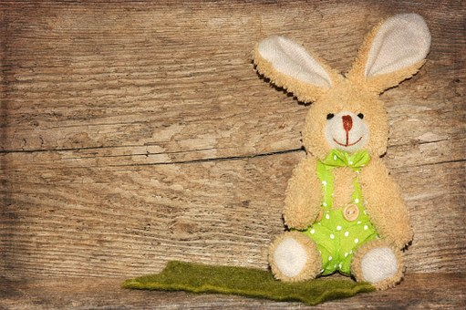 Wood, Fabric Bunny, Easter Bunny, Background