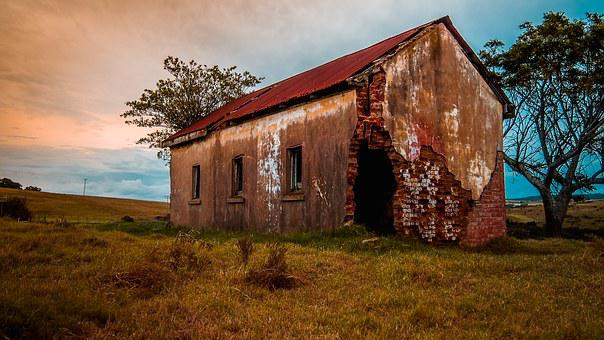 Old, Farmhouse, Landscape, Countryside, Architecture