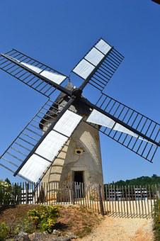 Windmill, Mill, Bournat, Bugue, Old, Dordogne, France