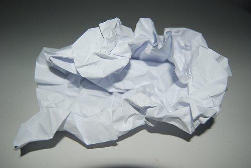 Paper, Leaf, Crumples, Close, Crumpled, Stationery