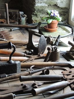 Tools, Shed, Flower, Garden, Heligan, Cornwall, England