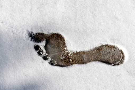 Footprint, Bare Foot, Foot, Outline, Snow, Cold, Ice