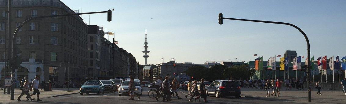 Hamburg, Jungfernstieg, Panorama, Road