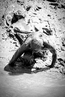 Mud, Man, Water, Human, Person Picking Crab