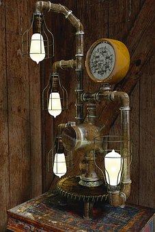 Steampunk Lamp, Lamp, Vintage, Metal, Old, Industrial