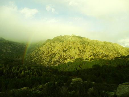 Rainbow, Mountain, Forest, Pedriza