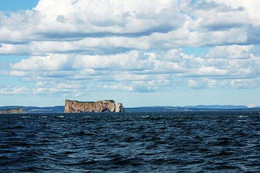 Gaspesie, Sea, Cloud, Sky, Blue, Pierced Rock, Nature