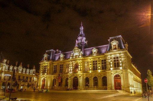 Poitiers, City hall, Monument, Night, Lighting
