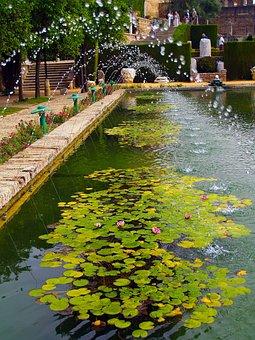 Cordoba, Pond, Water, Jet, Spain, Gardens