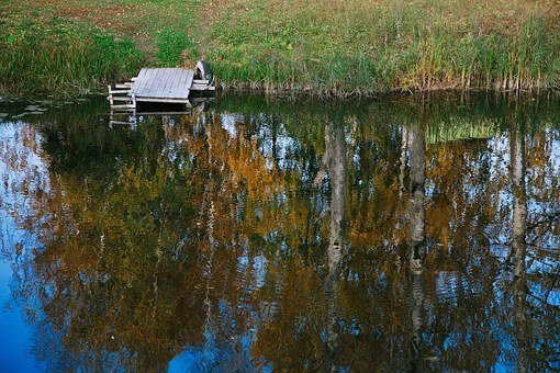 River, Reflection, Autumn, Water, Sky, Quiet River