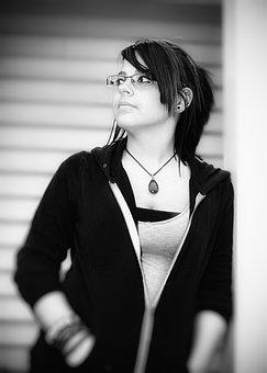 Black And White, Monotone, Portrait, Woman, Girl, Posed