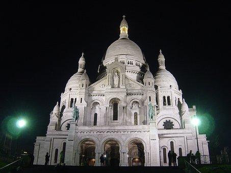 Church, Sacre Coeur, Architecutre, Paris, Night