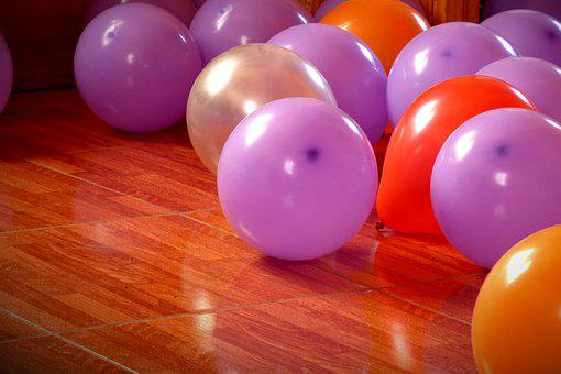 Balloons, Party, Birthday, Colors, Violet