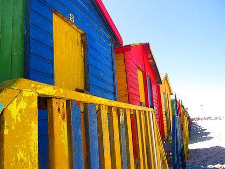Cape Town, Sea Side, Huts, Beach, Beach Houses