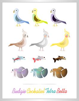 Animals, Birds, Fishes, Cartoon, Cute, Set, Design