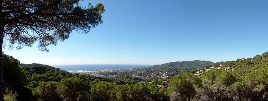 Panoramic, Cabrils, Maresme, Barcelona, Sea, Sky, Blue
