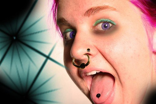 Girl, Tongue, Piercing, Stick Out Tongue, Puberty