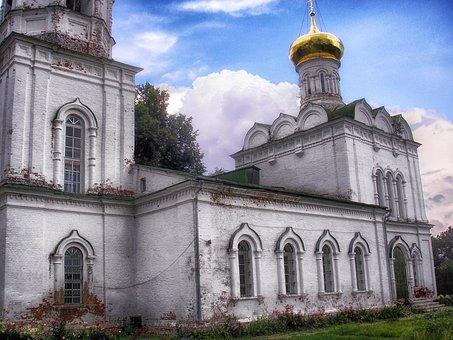 Buzharovo, Russia, Church, Sky, Clouds, Architecture