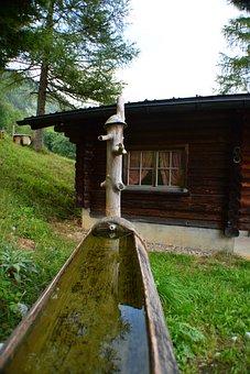 Switzerland, Alps, Chalet, Fountain, Wooden Houses