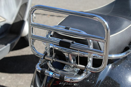 Rack, Moto, Wasp, Transport, Moped, Chromium Plating