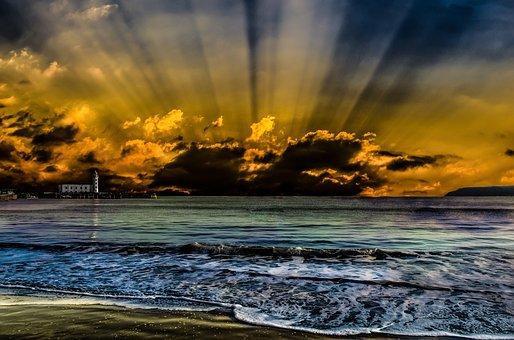 Sunset, Beach, Sea, Scarborough, England, Waves, Sun