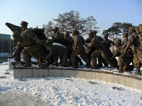 Snow, Winter, Statue, War Memorial, Korea, South Korea