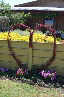 Heart, Twiggy, Shape, Fence, Panel, Wooden, Border