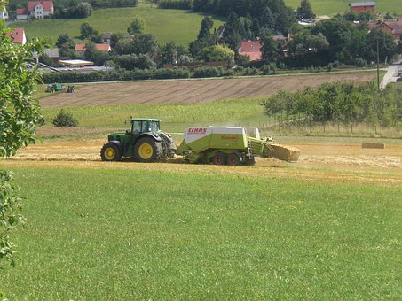 Tractor, Baler, Straw, Agriculture