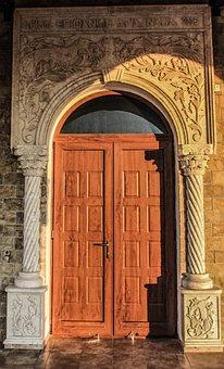 Cyprus, Ayia Napa, Ayios Epifanios, Door, Marble
