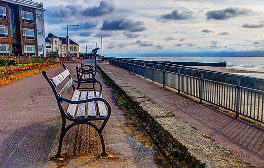 Bench, Coast, Sea, Sky, Beach, Sitting, Coastline