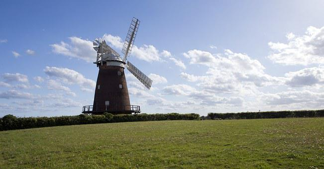 Thaxted, Essex, England, Windmill, Meadow, Blue Sky