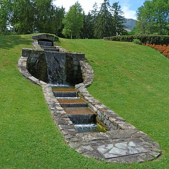 Landscape, Fountain, Cascade, Urban Setting, Lawn