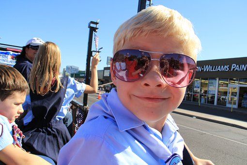 Boy, Sunglasses, Outdoors, Sunshine, Spectator, Child